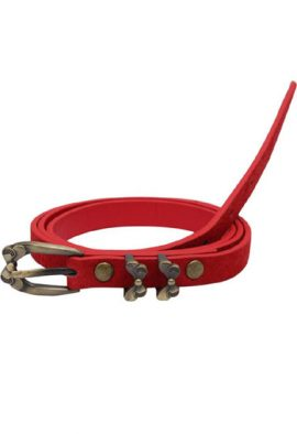 Ladies Red Butterfly Vintage Tie PU Leather Belt