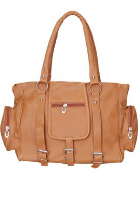 Stylish Brown Tan Satchel Shoulder Handbag