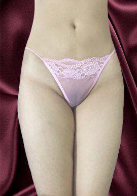 Seductive Pink Floral Lace Fishnet G- String Thong