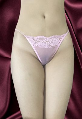 Seductive Pink Floral Lace Fishnet G- String Thong