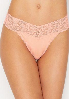 No Secret Cotton Lace Waistband Thong Panty