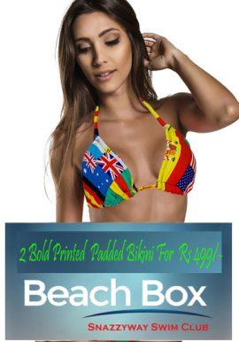 2 Bold Mix Printed Padded Bikini Bra Beach Box