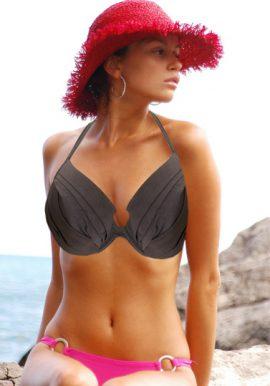 H&M Grey Ruched Underwired Halter Bikini Bra