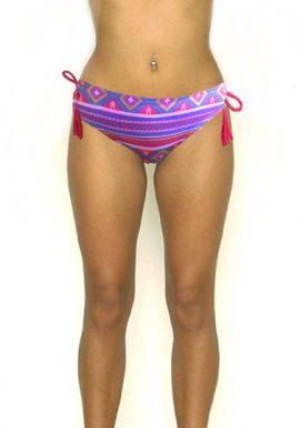 BILLABONC Tropical Print Ruched Back Frill Side Bikini Bottom