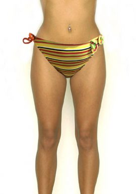 COBEY Attached Modern Crotch Flowers Stripes Bikini Bottom