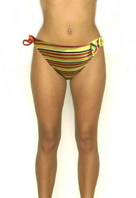 COBEY Attached Modern Crotch Flowers Stripes Bikini Bottom