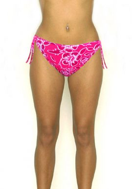 Coconut Pink Red Floral Plus Size Bikini Bottom