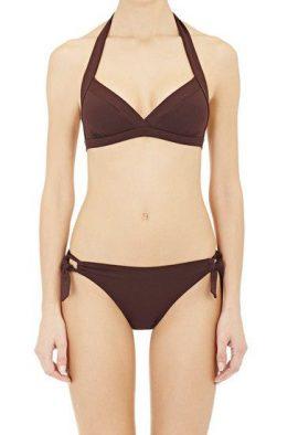 Love This Solid Brown Underwired Halter Bikini Set