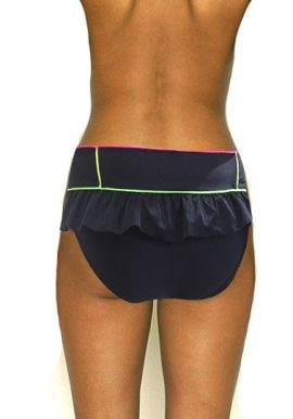 SEAFOLLY Pink Green Piping Ruffle Bikini Bottom
