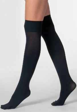 DIM Black Glossy Sheer Knee High Socks