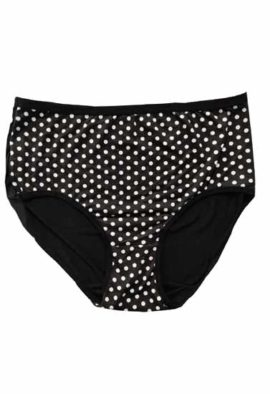 Super Comfortable White Dotted Black Cotton Plus Size Hipster Panty