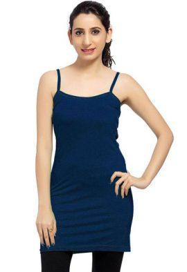 Blue Long Spaghetti Strap Camisole Slip
