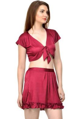 Seductive Midnight Maroon Babydoll Costume