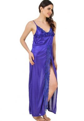 Blue Front Sexy Slit Cut Long Nighty