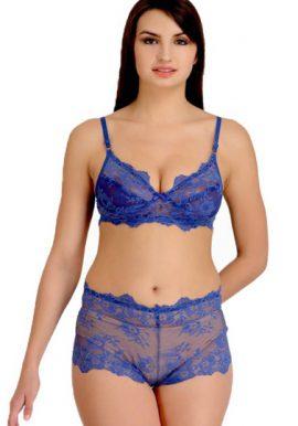 Blue Glowing Desire Lace Bra Panty Set