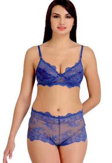 wide range boy distinctive design Blue Glowing Desire Lace Bra Panty Set
