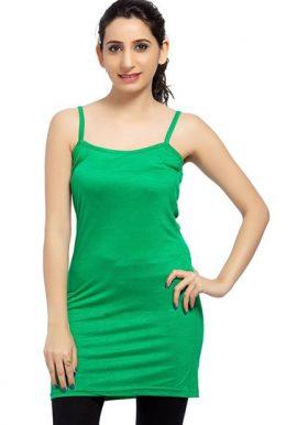 Green Long Spaghetti Strap Camisole Slip