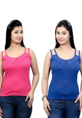 Ladies Pk Of 2 Pink Blue Tank Top