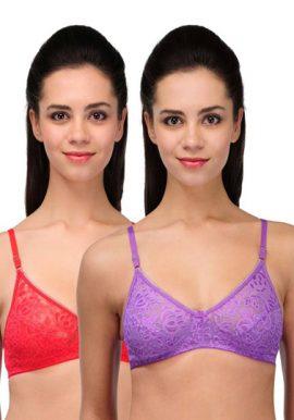 Pack Of 2 Purple Red Romantic Love Lace Bra