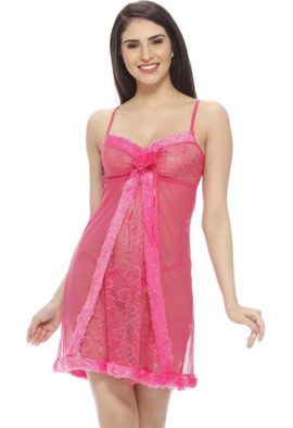 Pink Ruffled Naughty Secrets Babydoll Set