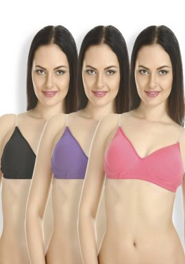 Pk Of 3 Changing Straps Cotton Multi Color Bra