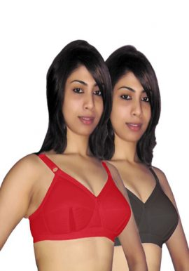 Red & Black Cotton T-Shirt Bra Pk Of 2