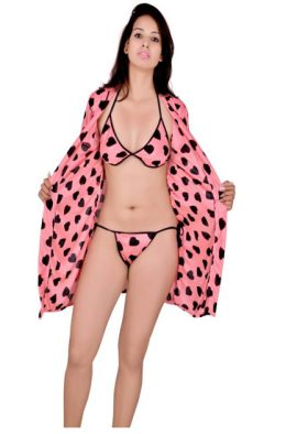 Heart Printed Womens Robes with Free Two Panties