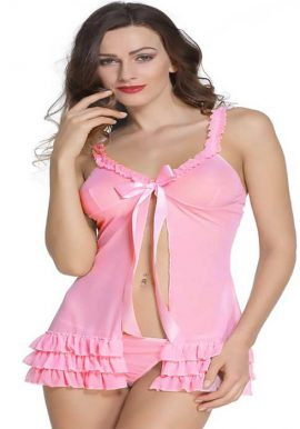 Snazzy Baby Pink Honeymoon Babydoll Set