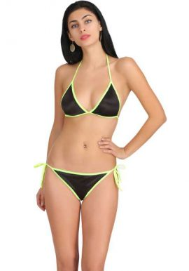 Snazzy Black & Yellow Sensational Lingerie Set