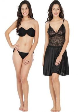 Snazzy Fantastic Black Babydoll Set