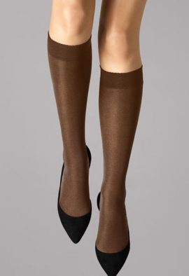 3 Pairs Gentle Brown Sheer Toe Knee High Stockings