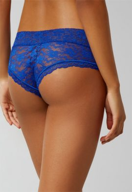 Ladies Blue Romantic Scalloped Lace 2 Hipster For Men
