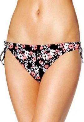 California Waves Black Floral Print Bikini Bottom