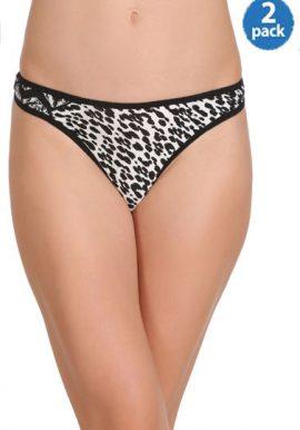 Female 2 Super Cool Black & White Printed Thong