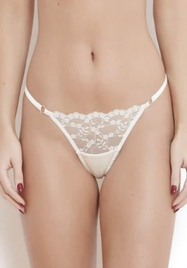 Female Ultra Thin White Thread Embellished G-String