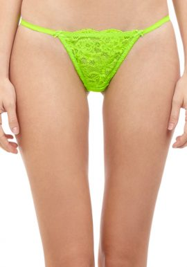 Ladies Double Waistband Green Floral Lace G-String