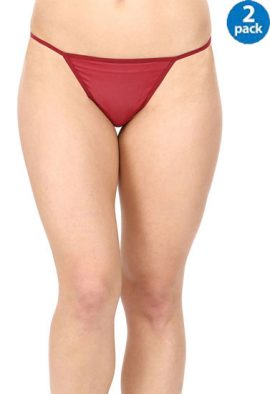 Ladies Red & Maroon Pk Of 2 Lace G-String