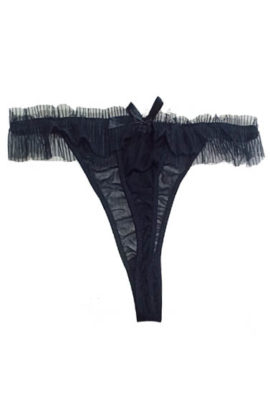 Snazzyway Black Frill Lace Thong