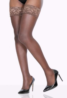 Choclate brown Ladies Over Knee High Stretchy Skinny Fit Ribs Knitted Stockings