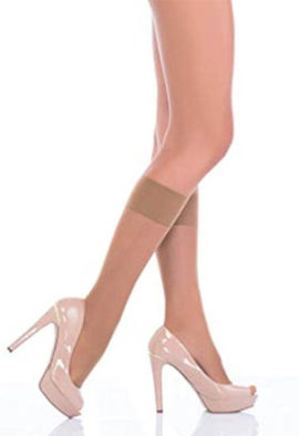 Voilai knee high sheer nude color stocking