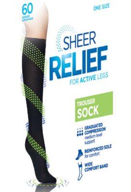 women Black sheer relief for active legs