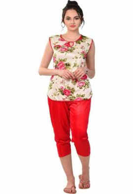 Women Floral Print Red Nightsuit Set