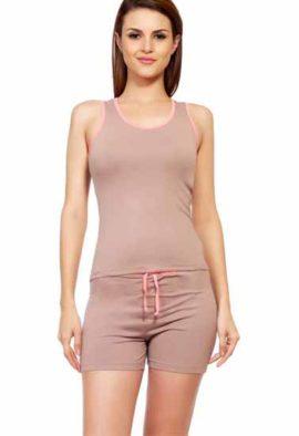Women Solid Pink, Beige Top & Shorts Nightwear Set