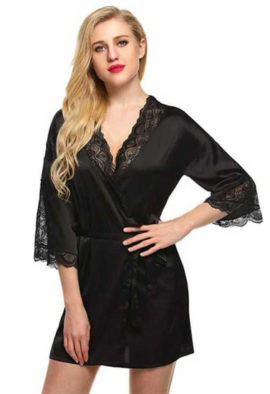 Luxurious Black Robes For Women's With Two FREE Panties