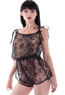 Very sexy black see through lace lingerie 6