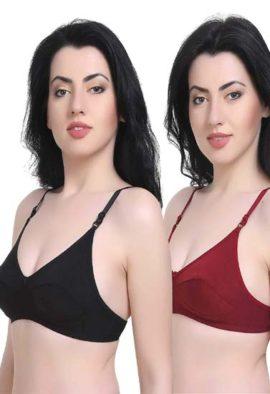 Women's T-Shirt Cotton Hosiery Black & Red Bra ( Pack of 2)
