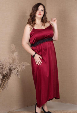 long Plus size nightgown Burgundy color