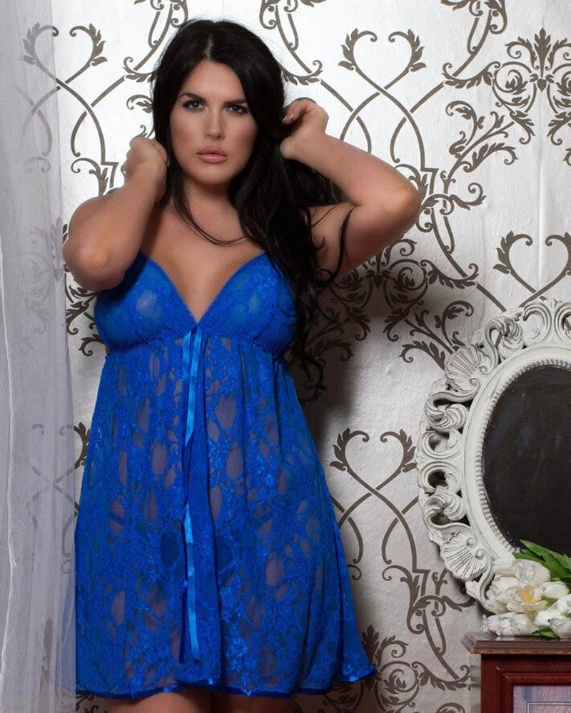 Plus size Stretch lace luxury babydoll nightwear
