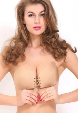 Beige Non-Wired Padded Stick-On Push-Up Bra